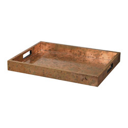 Uttermost - Ambrosia Copper Tray - Wooden tray covered with oxidized copper sheeting. The oxidization of each piece will vary.