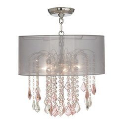 """Vienna Full Spectrum - Traditional Nicolli Pink 16"""" Wide Sheer Silver Crystal Ceiling Light - The Nicolli Pink semi-flushmount ceiling light features pink and clear crystal elements and a chrome finish frame. The four-light design offers the timeless look of a chandelier and is updated with a stylish designer sheer silver drum shade. A wonderfully refreshing designer look for your living space.  Chrome finish frame and canopy. Sheer silver drum shade. Pink and clear crystal. Semi-flushmount ceiling light. Takes four 60 watt candelabra bulbs (not included). 19"""" high. Chandelier only is 12"""" wide 10"""" high. Shade is 16"""" wide 7"""" high. Canopy is 5"""" wide. Some assembly required; instructions included.  Chrome finish frame and canopy.  Sheer silver drum shade.  Pink and clear crystal.  Semi-flushmount ceiling light.  Crystal lighting from Vienna Full Spectrum.  Takes four 60 watt candelabra bulbs (not included).  19"""" high.  Chandelier only is 12"""" wide 10"""" high.  Shade is 16"""" wide 7"""" high.  Canopy is 5"""" wide.  Some assembly required; instructions included."""
