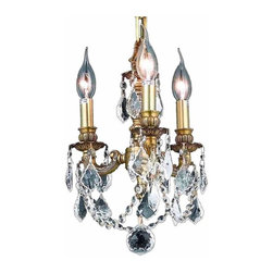 Elegant Lighting - 9103 Lille Collection French Gold Finish Royal Cut Crystal Hanging Fixture - Small by design yet still grand in appearance, the Lille Collection of three and four light cast brass bring sophisticated glamour to smaller spaces.