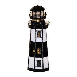 Meyda Tiffany - Montauk Point Lighthouse Accent Lamp - Requires one 5-15 watt NL and one 1 watt candelabra types bulbs. Nautical style. Steadfast structure like beacon to passing ships at sea. Made from pieces of individually cut and wrapped in copper foil art glass. Shade: 3 in. W x 9.5 in. H. Overall: 3 in. L x 3 in. W x 9.5 in. H. Care Instructions