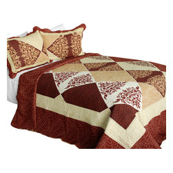 Blancho Bedding - Bumper Harvest Cotton 3PC Vermicelli-Quilted Printed Quilt Set  Full/Queen - Set includes a quilt and two quilted shams (one in twin set). Shell and fill are 100% cotton. For convenience, all bedding components are machine washable on cold in the gentle cycle and can be dried on low heat and will last you years. Intricate vermicelli quilting provides a rich surface texture. This vermicelli-quilted quilt set will refresh your bedroom decor instantly, create a cozy and inviting atmosphere and is sure to transform the look of your bedroom or guest room. Dimensions: Full/Queen quilt: 90 inches x 98 inches  Standard sham: 20 inches x 26 inches.