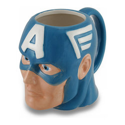Zeckos - Marvel Comics Captain America Ceramic Coffee/Tea Mug - Captain America fans, raise your glass (or, mug) to one of the mightiest patriotic heroes of Earth with this awesome mug Have a drink with Steve Rogers while sipping your morning coffee, afternoon tea or hot chocolate on a snowy day, if only in your imagination This ceramic 4.5 inch high, 6 inch long, 3.5 inch wide (11 X 15 X 9 cm) officially licensed marvel comics character mug features a glossy blue and white finish, is recommended to hand wash only to keep it looking great, and suggested for those 12 years and older. It's perfect as a gift for the comic book superhero loving person in your life sure to be enjoyed
