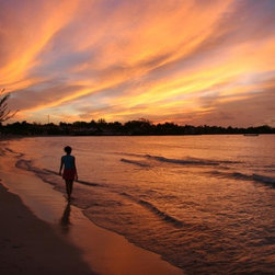 Wallmonkeys Wall Decals - Fiery Sunset over the Water in Jamaica Wall Mural - 72 Inches W x 48 Inches H - Easy to apply - simply peel and stick!
