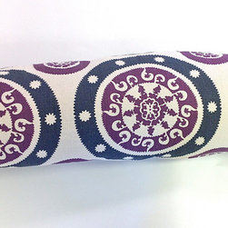 Suzani Pillow - This plum and navy linen suzani bolster pillow features two of my favorite colors for fall. Use one on a sofa or bench in the foyer so that it's the first thing your guests see when they walk in the door.