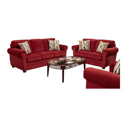 Chelsea Home Furniture - Chelsea Home Leslie 2 Piece Living Room Set in Samson Red - Style Transitional , Mechanism or Special Decorative Features Includes toss pillows as shown, Fabric Swatch Fabric Samples Avaliable by Mail, Cover Choices Samson Red, Seating Comfort Medium, Frame Construction The frames are constructed with all solid kiln dried hardwoods and engineered wood products  The stress points are reinforced with blocks to secure a long lasting frame, Spring System The sinuous springing system is manufactured with a reinforced 16 gauge border wire to maintain a uniform seating  Double springs are used on the ends nearest the arms to give balance in the seating, Cushion Composition Cushions are made from hidensity foam cores with Dacron polyester wrap to provide longer life All cushions are made with zippers, Fabric 100POLY, Fabric 100POLY, Sofa 1, Loveseat 1