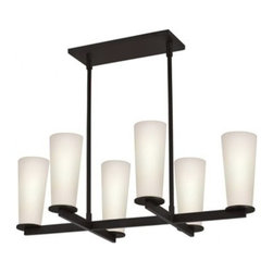 """Sonneman - Sonneman High Line 6-Light Chandelier - The High Line 6-Light Chandelier by Sonneman has been designed by Robert Sonneman. With tranquil tapered white etched case glass and a deep black bronze arm and black plate, this contemporary chandelier will make a magnificent addition to your sophisticated home decor. Enhances the look of hallways, stairways and dinning rooms, and anywhere else you need chic accent lighting. an elegant choice from Sonneman.  Product description:  The High Line 6-Light Chandelier by Sonneman has been designed by Robert Sonneman. With tranquil tapered white etched case glass and a deep black bronze arm and black plate, this contemporary chandelier will make a magnificent addition to your sophisticated home decor. Enhances the look of hallways, stairways and dinning rooms, and anywhere else you need chic accent lighting. an elegant choice from Sonneman.  Details:       Manufacturer:    Sonneman      Designer:    Robert Sonneman      Made in:    USA      Dimensions:    Shade:Height:8"""" (20.32 cm) X Diameter:3.5"""" (8.89 cm)  Rectangle:Width:12"""" (30.48 cm) X Depth:5"""" (12.7 cm)  Overall:Width:29.25"""" (74.3 cm) X Height:9.25"""" (23.5 cm)      Light bulb:    6 X Candelabra BaseMax  60W Incandescent (not included)      Material:    Glass"""