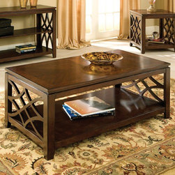 Standard Furniture - Woodmont Coffee Table - Woodmont Tables feature 18th century traditional design elements with an updated transitional look for today's home. Features: -Shelf on bottom allows for extra space for displaying decorative items.-Surfaces clean easily with a soft cloth.-Constructed of veneers and wood.-Block style construction encompasses style, functionally, and durability.-Brown cherry finish.-Woodmont collection.-Collection: Woodmont.-Distressed: No.Dimensions: -Dimensions: 19'' H x 48'' W x 26'' D.-Overall Product Weight: 66.1386786555 lbs.Warranty: -Manufacturer provides one year warranty.