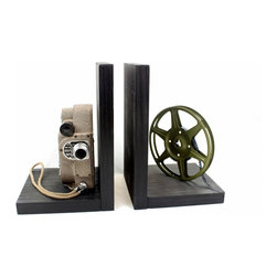 Vintage Camera Bookends - DVD Holder - Movie Theater Decor - Revere 8 Model 88 - Original Revere 8 Model 88 8mm Camera, 8mm film and film reel – modified into a pair of bookends.