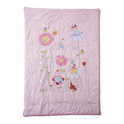 The Little Acorn - Natureland Fairies Quilt - Natureland Fairies is the perfect baby girl room decor theme. Our beautifully hand crafted quilt with applique's and embroideries of sweet fairies in a magical garden can be hung on the wall with the pole pocket included on back, as well as safely used on a toddler bed. This popular nursery crib bedding collection makes the best baby girl theme with matching wall art & crib bedding. Perfect for monogramming and personalizing. Expertly hand tufted 100% pure cotton with hypoallergenic fill. Machine washable. Made in China