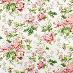 Waverly Forever Yours Spring Fabric - This beautiful pink floral would be right at home on curtains in a feminine guest bedroom. To tone down the girly factor, consider using it as an accent, maybe as the skirt fabric on an otherwise solid upholstered chair.