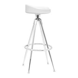 Fine Mod Imports - Saucer Bar Stool White Leatherette - Bar Stool Chair is a swivel chair with a heavy chrome base.