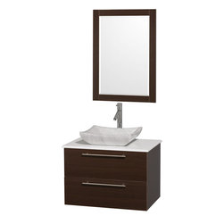 Wyndham - Amare 30in. Wall Vanity Set in Espresso w/ White Stone Top & Carrera Marble Si - Modern clean lines and a truly elegant design aesthetic meet affordability in the Wyndham Collection Amare Vanity. Available with green glass or pure white man-made stone counters, and featuring soft close door hinges and drawer glides, you'll never hear a noisy door again! Meticulously finished with brushed Chrome hardware, the attention to detail on this elegant contemporary vanity is unrivalled.