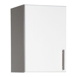 """Prepac - Prepac Elite White 16 Inch Topper and Wall Cabinet with 1 Door - The elite 16"""" stackable wall cabinet gives you storage that's as practical as it is versatile. With one adjustable shelf and its extra four inches of depth, this stackable wall cabinet can adapt to anything you need to store in your workshop, laundry room or garage. Save floor space by mounting it directly to your wall, or on top of the elite 16"""" broom cabinet for a total of 89 vertical inches of storage."""