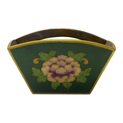Golden Lotus - Chinese Green Flowers Wood Square Handle Bucket - This is a large size oriental rice measure bucket painted with green and color flower pattern.