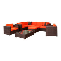 Amazonia - Southampton 9 Pc Sectional Set w Orange Cushions - Set includes 3 Corner Chairs, 2 Middle Chairs, 2 Arm Chairs, Table, and Ottoman. Aluminum and Synthetic Wicker frame. Free feron gard vinyl preservative for longest strap durability. It works great against the effects of air pollution salt air, and mildew growth. For best protection, perform this maintenance every season or as often as desired. Dark Brown Wicker. Great functionality. Orange Cushions. Cushions are included. Water Repellent Polyester Cushions. Warranty: 1 year. Corner Chair: 32 in. W x 32 in. D x 27 in. H. Middle Chair: 28 in. W x 32 in. D x 27 in. H. Ottoman: 28 in. W x 28 in. D x 13 in. H. Arm Chair: 31.5 in. W x 31.5 in. D x 27 in. H. Table: 34 in. W x 34 in. D x 12 in. HGreat quality, stylish design patio sets, made of aluminum and synthetic wicker. Polyester cushion with water repellant treatment. Enjoy your patio with elegance all year round with the wonderful Atlantic outdoor collection.
