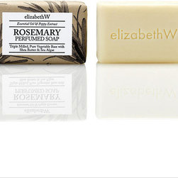 Frontgate - Set of Three elizabethW Rosemary Bar Soaps - Set of three. Focus on a scent that is herbal, meditative, and soothing. Hand-wrapped in letterpress paper. Small-batch production. Triple-milling is what makes this elizabethW Rosemary Bar Soap so creamy, sumptuous, and gentle. A pure plant-based formula that includes shea butter works to cleanse, protect, and nourish the skin..  .  .  . Made in the USA.