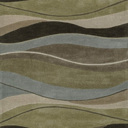 "Loloi Rugs - Loloi Rugs Grant Collection - Olive / Brown, 7'-9"" x 9'-9"" - Hand-tufted in China of 100-percent polyester, the Grant Collection will give you the fashion interior you've always dreamed of. At once sleek yet softly contemporary, these hip patterns include boxed swirls, undulating stripes and dramatically scaled florals and botanicals. With its pile-and- loop construction, each Grant Collection rug will infuse a rich texture to your home like no other."