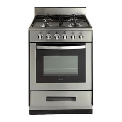 "Avanti - Avanti 24"" Deluxe Gas Range - Elite Series - Black/Stainless Steel Oven - Avanti 24"" deluxe gas range - elite series - black/stainless steel oven."