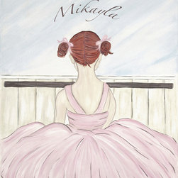 Personalized Ballerina-Red Head - Decorate your little Ballerina's room with this art.  This art is simply timeless enjoyed by  the young and the young at heart.  Ballerina is available with Blonde, Brunette or Red hair.