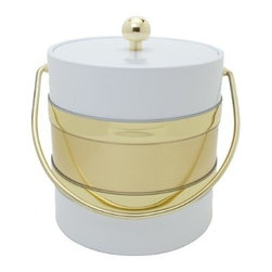 """Mr. Ice Bucket Two-Tone Ice Bucket, White and Gold - A bar nook is the perfect place to decompress and have some """"me time,"""" or to entertain friends and family. And I think bar nooks can't ever have enough gold and sparkle! Try a vintage brass bar cart, a white and gold porcelain ice bucket (like this one), a few crystal decanters, scotch glasses and champagne flutes with gold art deco motifs."""