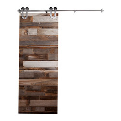 Rustica Hardware - Reclaimed Wood Horizontal Slat Barn Door - 7 Ft High X 3 Ft Wide - This beautiful door would make a perfect addition to any room!  Great for offices, bedrooms and pantry.