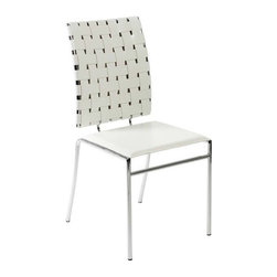 Eurostyle - Eurostyle Carina Leather Side Chair w/ Chromed Steel Base in White [Set of 4] - Leather Side Chair w/ Chromed Steel Base in White belongs to Carina Collection by Eurostyle Unique, fascinating, and totally versatile are just three ways to describe the Carlsen dining room chairs. These metal stackable chairs feature woven leather backs and smooth leather seats. Use them for your main dining ensemble where the family gathers for meals, or simply keep them around as extra seating when entertaining. The modern chairs have a stacking design, so they store nicely. The smooth, clean geometric shapes of ItalModern design give your rooms a trendy up-to-date look. Sold in sets of 4. Comes in black, brown or white. Assembly level/degree of difficulty: Easy. In the event of a return this item is subject to a restocking fee. Side Chair (4)