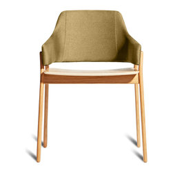 Blu Dot - Blu Dot Clutch Dining Chair, White Oak / Olive - Sturdy yet elegant and comfortable without being overly plush, Clutch's rounded edges and curved back wrap around to provide the perfect resting spot for arms. Your choice of white oak, smoke on ash or red on ash wood with red upholstery.Solid stained ash or white oak wood legs or red on ash legs with red upholstery, Upholstered and padded bent plywood seat back, Plywood seat with ash or oak wood veneer, 100% polyester fabric