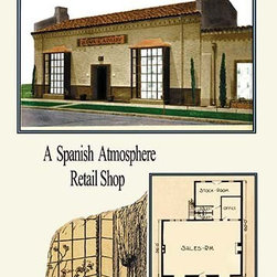 """Buyenlarge.com, Inc. - A Spanish Atmosphere Retail Shop- Paper Poster 20"""" x 30"""" - American commercial rendering of various business buildings with floor plans and with some drawings of the milieu"""