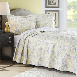 Laura Ashley - Laura Ashley Joy Grey/Yellow Reversible 3-piece Cotton Quilt Set - Brighten up your bedroom with this beautiful Joy cotton quilt,featuring a reversible design with a grey and yellow paisley floral pattern. Fully machine washable,this trendy take on a traditional pattern will reinvigorate any decor.