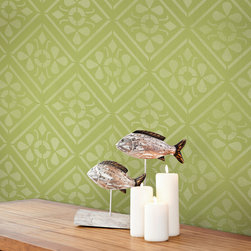 Anisa Embroidery Damask Wall Stencil - Our Anisa Embroidery Damask Wall Stencil is inspired by the colorful fabrics and art of India and highlights a modern flower pattern. The geometric design is versatile enough to create an ethnic or retro look on walls, floors, and furniture.