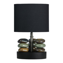 Cortesi Home - Hoodoo Table Lamp - It's easy to bring in a touch of nature with the Hoodoo lamp that features a stacked rock design. It is contrasted with a satin nickel stand and topped off with a round black shade. Rocks are in earth tones. This smaller lamp will look great on your nightstand or an accent table.  UL approved. ON/OFF switch on cord. Max 60W bulb (not included)