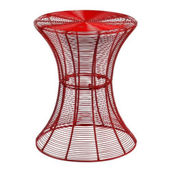 Southern Enterprises - Metal Spiral Accent Table - Red - Need something bold to energize your family room or patio? A modern, contemporary design and striking red finish make this wire accent table a magnificent addition for any home. Designed with layers of wire and beautiful curves, this table is both functional and stylish. The round table surface is 14. 75 inches across, making it the perfect size for holding the essentials or decor without collecting clutter. This accent table is made of solid iron wire with a powder-coated finish for indoor or outdoor use. Whether you place this accent table beside your sofa or on your patio, it is sure to enhance the area. Try working with symmetry and balance by using more than one in a room or patio!