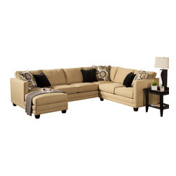 "Benchley - 3-Piece Oasis Collection Willow Color Fabric Upholstered Sectional Sofa - 3-Piece Oasis collection willow color fabric upholstered sectional sofa with square arms and chaise. This sectional measures 127"" x 64"" chaise x 68"" L x 35"" H x 38"" D. Also available in Ebony, Almond, and Teal colors."