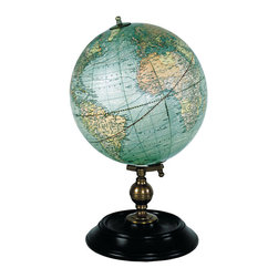 Authentic Models - 1921 USA Globe, Weber Costello - A contemporary classic. 1920s Weber Costello globe is displayed on ebonized wood stand accented bronze. Colored gores are applied to the globe core by hand with authentic construction and detail.The world in 1921. Roaring, yes...and still colonial.