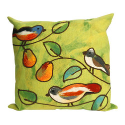 "Green Songbirds Print 20"" By 20"" Decorative Throw Pillow - This beautiful indoor / outdoor decorative throw pillow is made of 100% polyester microfiber. The cover has a zipper closure so you can take out the fiberfill inner pillow for hand-washing if you need to. The pillow measures 20 inchs by 20 inches. It looks just as great in your home or on your patio or wherever you want a dash of color."