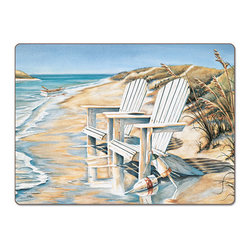 "A Beach Days Coastal 4 Hardboard Cork Back Placemat - Beach Days Cork-back, Non-skid, Hardboard 15.75"" x 11.5"" Table Mat/Placemats are produced using layered construction  for years of carefree use. This beautiful designer art product is special ordered   for you from the manufacturer. It is not returnable and may take a little longer to receive."