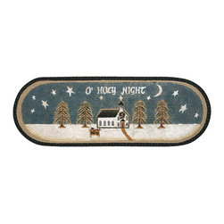 Earth Rugs - 1008 O'Holy Night Oval Table Runner 13in.x36in. - O'Holy Night Oval Table Runner 13 in. x36 in.