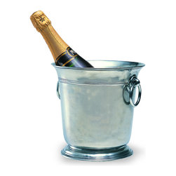 Match - Match Wine Bucket - Serve your favorite wine in elegance with this wine bucket. Handmade in northern Italy by master artisans, this wine bucket features ring handles and a polished pewter finish. Dishwasher safe.