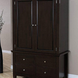 None - Aristo Four-drawer Armoire - Add plenty of easy to organize storage space to a room with this brown armoire with drawers. The piece contains a large cabinet area with rods for hanging storage and four 180-degree wrap-around drawers. The rear can be removed for deep item storage.
