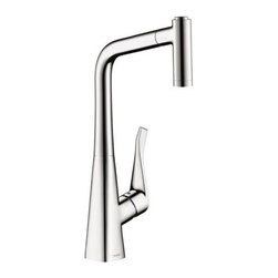 Hansgrohe 14820801 Metris 2 Spray HighArc Pull-Out Kitchen Faucet In Steel Optik -