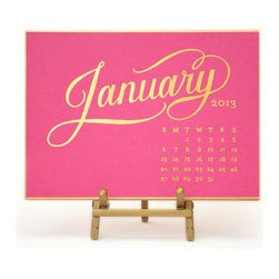 Raspberry Kate Desk Calendar - It's not too late to invest in a pretty desk calendar. The gold foil typography and raspberry hue of this one make me smile from ear to ear.