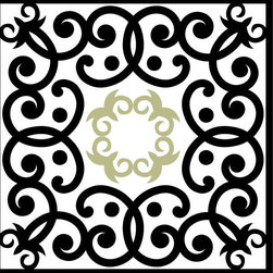 Odhams Press - Edwardian Scroll Sage RETile Decal, White Background - RETile decals can be used to accent or transform your existing ceramic, stone or glass tiles. They are easy to apply and can be removed in the future without leaving a sticky residue.