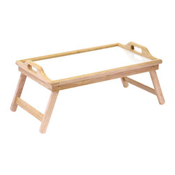 "Winsome Wood - Winsome Wood Breakfast Bed Tray w/ Handle & Foldable Legs - Breakfast in bed or a meal in front of the TV is as easy as 1-2-3 with this bed tray. There is plenty of leg space clearance if you want the bed tray propped open. When you're through, the bed tray's legs are foldable for easy storage until next use. Comes in natural finish. Open dimension 24.97""L x 13.94""W x 10.31""H Bed Tray (1)"