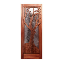The Vista Woods Master Bedroom Door - Brian Lee Designs/MendocinoDoors.com The Vista Woods Master Bedroom Door.  The door frame is Vertical Ribbon Grain Mahogany.  The Carving is cross laminated VG Redwood.  Handcarved by Master carver  Ken Davis.