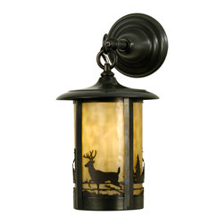 "Meyda Lighting - Meyda Lighting 8"" W Fulton Deer Creek Hanging Wall Sconce - A Deer In The Woods Accents This Handsome Nature Inspired Lantern Style Wall Sconce. The Fixture, Handcrafted In The USA By Meyda Artisans, Is"
