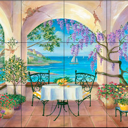 The Tile Mural Store (USA) - Tile Mural - Balcony  - Kitchen Backsplash Ideas - This beautiful artwork by Cheryl Hamilton has been digitally reproduced for tiles and depicts a painting of a nice ocean view from a Italian Restauraunt.  Waterview tile murals are great as part of your kitchen backsplash tile project or your tub and shower surround bathroom tile project. Water view images on tiles such as tiles with beach scenes and Mediterranean scenes on tiles Tuscan tile scenes add a unique element to your tiling project and are a great kitchen backsplash idea. Use one or two of our landscape tile murals for a wall tile project in any room in your home for your wall tile project.