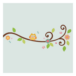 York Wallcoverings - Scroll Tree Branch Owls Self-Stick Wall Accent Set - Features: