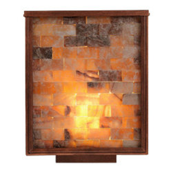 Canyon Wall Sconce - %The Canyon Wall Sconce by Kan Shrader presents an enchanting luminaire that is sure to illuminate your space with warmth and authentic beauty. The Canyon Wall Sconce's charismatic ambiance features a lens of perfectly placed Onyx stone and glass squares with an iron base and a textured bronze finish. Kan Shrader is located in Newport Beach, California and designs and manufactures Lighting pieces that have been christened as timeless. All of Kan Shrader's light fixtures come standard in aluminum with an exterior powder coat, finish coat, and sealer. Kan Shrader's items are available in multiple finishes, with glass and lamping options to meet your Lighting needs. The Canyon Wall Sconce pairs wonderfully with the Canyon Exterior Wall Sconce.