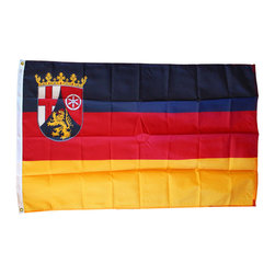 Flagline - Rhineland-Palatinate - 3'X5' Nylon Flag - Designed for outdoor use, these beautiful long-wearing 3' x 5' Rhineland-Palatinate (Rheinland-Pfalz) flags are crafted from the highest quality 200-denier nylon. The colors are dyed into the fabric for superior penetration and color-fastness. Attaching to a pole is easy with the canvas header and brass grommets on the 3' side. The hem on the fly end of the flag features 4 lock stitched rows to help prevent premature fraying. The authentic designs are based on information from official sources.