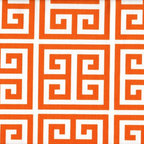 Close to Custom Linens - 75W x 84L Shower Curtain Towers Orange, Unlined - Towers is a medium scale geometric in orange on natural cotton. Reinforced button holes for 12 curtain rings.